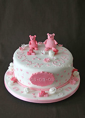Christening Cake (459) - Pink Teddies & Flowers (Scrumptious Cakes by Paula-Jane) Tags: pink flowers roses white cakes cake plaque hearts footprints christening ribbon teddies buildingblocks pinkwhite christeningcake dundeescotland ribbonroses scrumptiouscakes