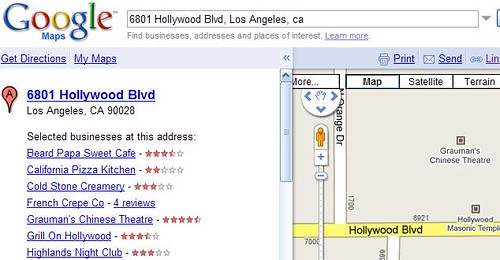 Searching Google Maps by Grauman's Chinese Theatre's Address
