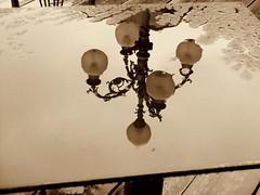 lampione narciso. (Claudio61 una foto ferma un ricordo nel tempo) Tags: bar piazza reflexions riflessi pioggia tavolo ohhh vigevano lomellina mirrorser