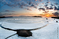 Three legged rock cracking the ice (Rob Orthen) Tags: sea sky ice sunrise suomi finland landscape dawn spring helsinki nikon rocks europe scenic rob fisheye scandinavia dri meri maisema vesi pinta d300 j kevt kallahti orthen roborthenphotography seafinland nikon105mm28fisheye