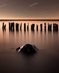 From the deep (Explored) (Insight Imaging: John A Ryan Photography) Tags: longexposure toronto ontario water rock night lakeerie posts startrails erieau chathamkent pentaxk10d wwwinsightimagingca johnaryanphotography