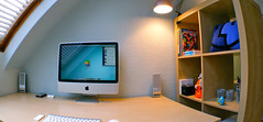 Fisheye Pano (purplelime) Tags: apple imac desk pillow finder homeoffice throwboy thesystemattic