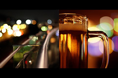 beer and a movie:  114/365 (helen sotiriadis) Tags: beer night canon fence mall lights diptych dof bokeh rail athens depthoffield greece 365 356 canonef50mmf14usm  maroussi  canoneos40d  toomanytribbles