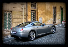 Ferrari in Rome (Mike G. K.) Tags: road street italy rome brick car silver crust alley pavement ferrari parked walls hdr 1exp selectivehdr singlejpghdr