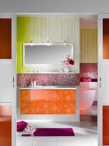 contemporary bathroom designs ideas, colorful bathroom sinks, vanity with floral ornament decoration. Beautiful bathroom designs idea