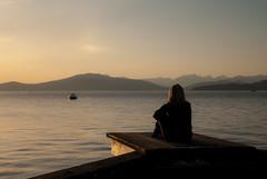 Ultimate Yoga Platform (Moe W) Tags: sunset woman canada mountains beach water yoga vancouver pier boat dock bc calm wharf kitsilano englishbay magichour mauricewoodworth