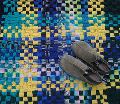 Handwoven Felted Wool Sweater Rug (fiveforty) Tags: blue green yellow turquoise handwoven ragrug woolsweaters fiveforty recycledtextile