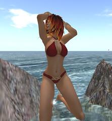 Sand Goddess Swimwear (Ariadne Barzane) Tags: life model modeling avatar sl exotic secondlife virtual second swimsuit swimwear silks dancewear gor kajira gorean captiveelegance sandgoddess