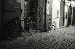 Two bicycles on one Praha street (fly35) Tags: street bw film bicycle praha ilford ih