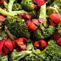 Roasted Broccoli & Strawberries with Truffle Balsamic Glaze