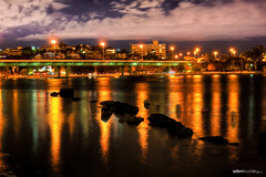 Stirling Bridge At Night (Adon Buckley) Tags: bridge water night canon reflections river lights rocks long stirling australia shutter fremantle hdr swanriver buckley adon 50d
