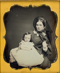 Victorian beauty with baby. (Mirror Image Gallery) Tags: baby mother daguerreotype bonnet victorianbeauty