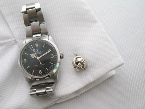 Rolex Explorer ref 5500 & classic sterling silver knot cufflinks from Links of London