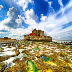 Fortress (Dimitri Depaepe) Tags: light sea people france reflection clouds coast rocks fortress capgrisnez hdr bratanesque