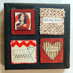 Art Squared - Destiny (kimtedrow) Tags: wood flowers red art collage paper lace mixedmedia squared