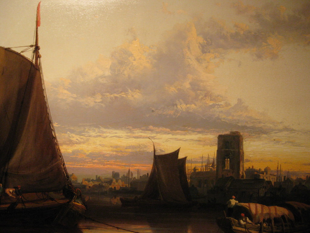 James Webb (British, 1825-1895) Sunset over Dordrecht Harbour. Oil on canvas. 28 3/4 by 49 in. (Detail)