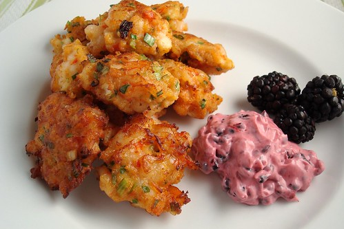 Shrimp Cakes with Blackberry Dipping Sauce