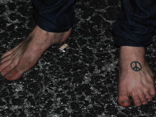 peace and love foot tattoos. ingle foot tattoo peace