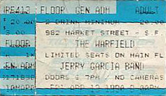 Ticket for Jerry Garcia Band - 4/13/90 Warfield Theatre, San Francisco