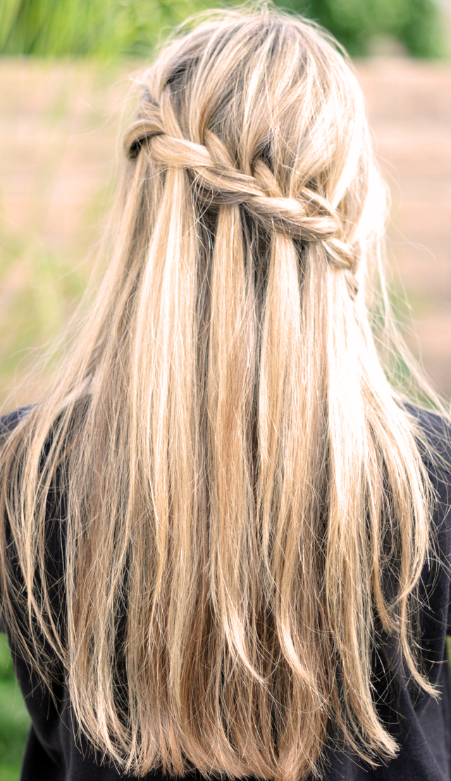 waterfall braid, pretty braids, long hair, braid tutorial, french braids, wedding hair, partial french braid hair tutorial back