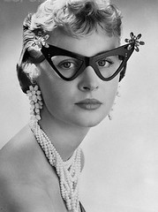 Cool Glasses? (MsBlueSky) Tags: bw 1955 fashion glasses weird surreal 1950s cateye