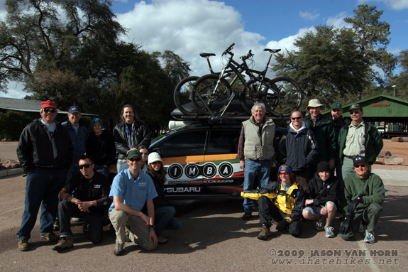 The two Subaru/ IMBA Trail Care Crews pose with the Payson crew