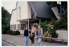 Barbara Moorhouse, Kim Slack, Hilary Renfree outside Spreydon Library