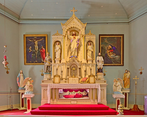 Old Saint Ferdinand Shrine, in Florissant, Missouri, USA - Church altar