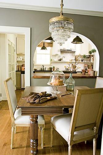 Gray dining room: Pratt & Lambert 'Sierra Night' + crystal chandelier + traditional furniture