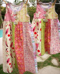 Big sister, lil sister dresses (Snappy Shop) Tags: girl children twins dress handmade oneofakind retro patchwork littlesister bigsister freshcut vintagereproduction snappyshop auntgracesscrapbag
