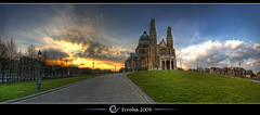 Basilica of the Sacred Heart ( Koekelberg ) @ Brussels, Belgium :: HDR :: Panorama (Erroba) Tags: blue sunset brussels sky panorama orange green church grass yellow clouds photoshop canon rebel big heart belgium belgique basilica tripod belgi bruxelles sigma tips sacred huge remote artdeco 1020mm erlend brussel hd