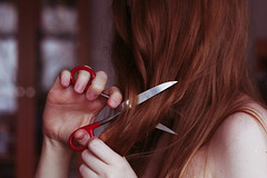 (*Nishe) Tags: red girl hair scissors cutting nishe