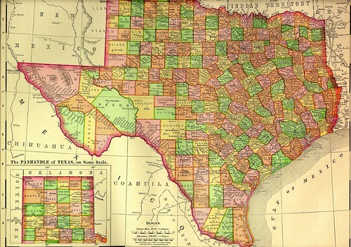 1895 Railroad Map of Texas