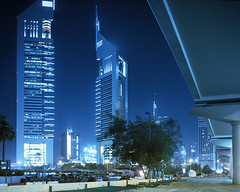 dubai 1 ( Paul Hiller) Tags: road night dubai largeformat sheik zaid fuji64t