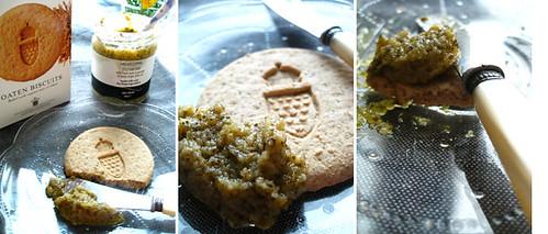 oat cracker with zucchini pate.