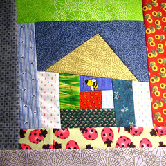 SewConnected wonky house block 2 for krommama (mochistudios) Tags: swap improv quiltblock wonkyhouse sewconnected scrapbuster