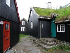 Faroese Islands - Old Traditional Houses in Tórshavn with Turf Roof - Mettustova