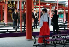 Miko  (jpellgen) Tags: japan japanese spring nikon shrine asia kobe  nippon 1855mm nikkor shinto kansai 2009 nihon hyogo  chuoku kinki honshu  ikuta d40