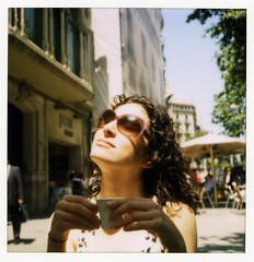 Barcelona sun (thirtyoneteeth) Tags: barcelona alexis coffee sunshine sunglasses polaroid spain espresso lxs flybutter sx680