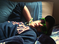 Soundly Sleeping. (dork17) Tags: boy portrait cute guy sunglasses bed funny nap doze relaxed sleeeping