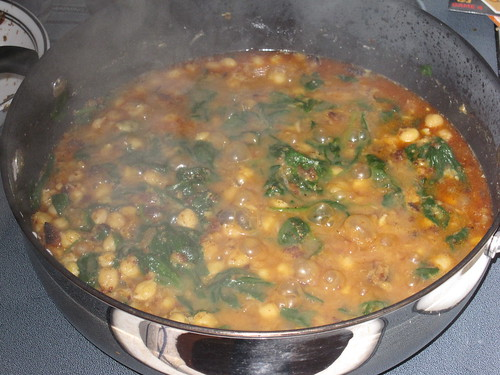 Moorish-Style Chickpea And Spinach Stew nearly finished
