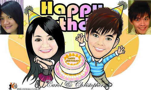 Custom Digital Birthday Theme Caricature Drawing