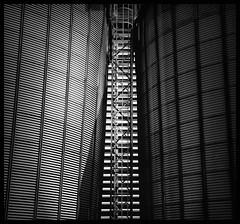 minimalines overdose! (rita vita finzi) Tags: net blackwhite geometry stairway silos industrialarchitecture astract ministract explore2009 minimalines urbanabstractionslines