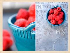 Raspberries (Nicole Ziegler) Tags: nicole raspberries bluebowl ziegler metaltray foodfoodphotographyfoodanddrink