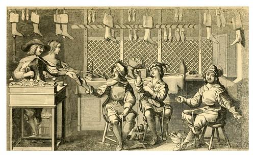 011-Interior del negocio de un zapatero bajo el reinado de Luis XIII de Francia-Histoire de la chaussure depuis l'antiquité-1862- Paul Lacroix y Alphonse Duchesne