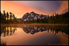 Early Morning at Picture Lake (Darren White Photography) Tags: morning trees sky sun lake snow cold fall ice nature water clouds sunrise reflections landscape nikon natural northwest calm wilderness washingtonstate d300 northerncascades mountshuksan picturelake washingtonstatetourism mountbakerwilderness fall2008 darrenwhitephotography vosplusbellesphotos washingtonstatetravel scenicwashingtonstate