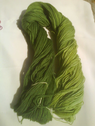 Green sock wool.