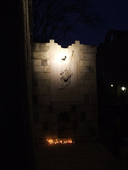 Memorial to Peter Mansfeld (cheesemonster) Tags: statue wall dark death memorial candles hungary darkness budapest illuminated falling burning peter glowing lit pushed remembrance magyar vigil ungarn buda hungria dunkel dunkelheit lighted magyarorszag magyarorszg hungra hongrie ungary magyarkztrsasg mansfeld gloww illumninated magyarkoztarsasag petermansfeld