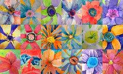 (artsy_T) Tags: flowers art bright paintings watercolors elementary okeeffe 3rdgrade georgiaokeeffe