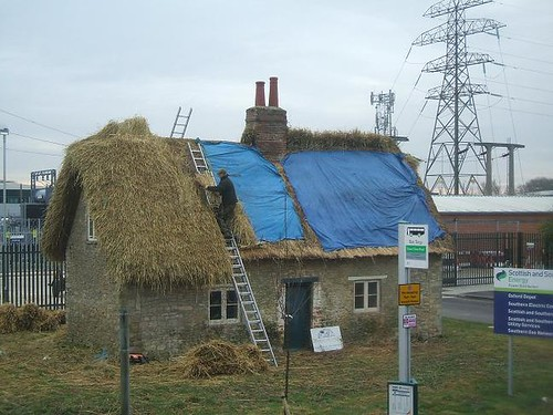 semi rethatched cottage